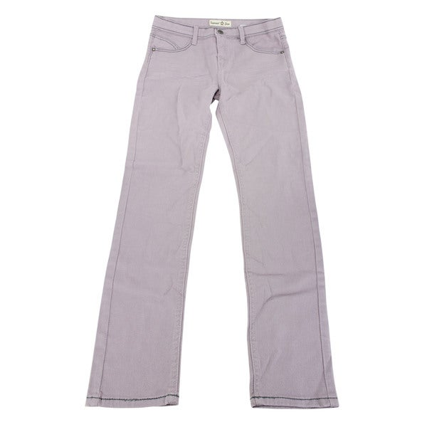 Imperial Star Girl's Purple Cotton Slim Fit Jeans (Size 16 US)