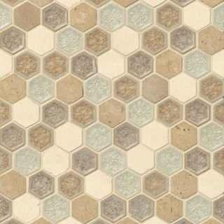 Bedrosians Tan/Beige Glass/Stone Hexagon Blend Mosaic Blessed Tiles (Pack of 10 Sheets)