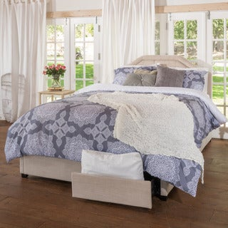Christopher Knight Home Angelica Tufted Fabric King Bed Set with Drawers
