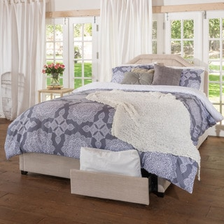 Christopher Knight Home Angelica Tufted Fabric Queen Bed Set with Drawers