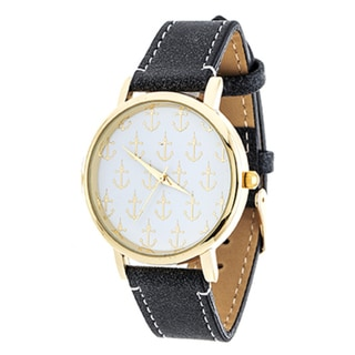 Xtreme NYC Women's Gold Case/Anchor Design Print Dial with Black Leather Strap Watch
