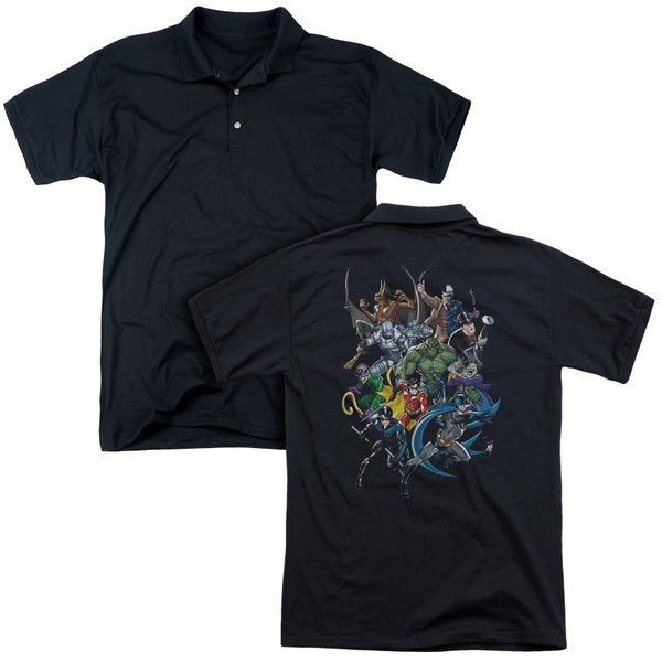 Batman/Saints and Psychos (Back Print) Mens Regular Fit Polo in Black