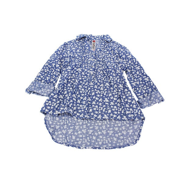 Beautees Girls' Blue Cotton Long-sleeve Top