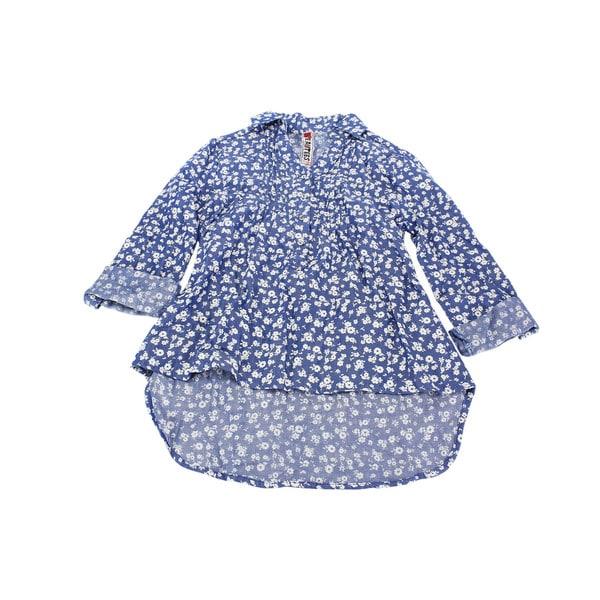 Beautees Girls' Blue Cotton Long-sleeve Top