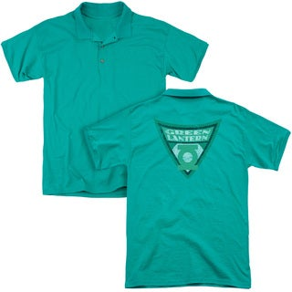 Batman Bb/Green Lantern Shield (Back Print) Mens Regular Fit Polo in Kelly Green