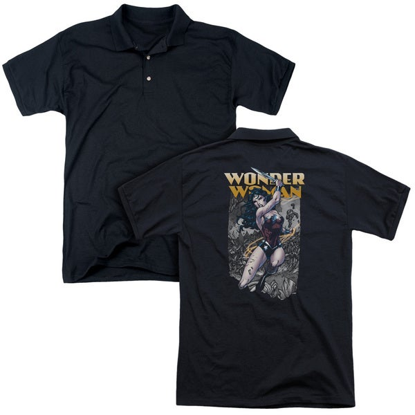 JLA/Wonder Slice (Back Print) Mens Regular Fit Polo in Black