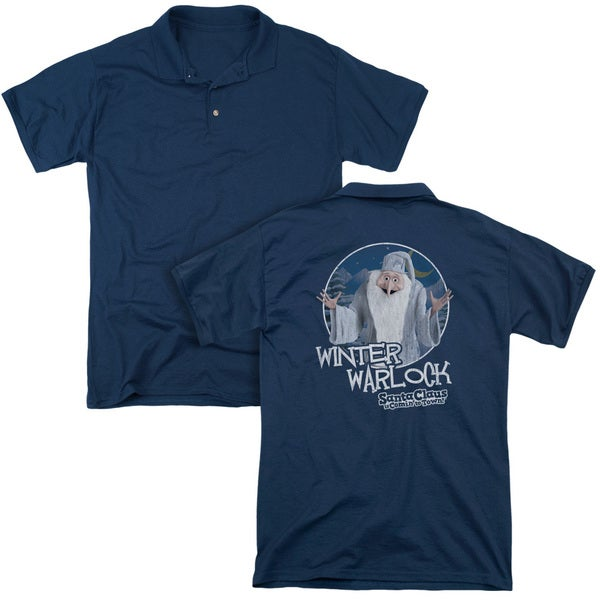 Santa Claus Is Comin To Town/Winter Warlock (Back Print) Mens Regular Fit Polo in Navy