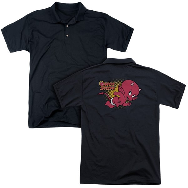Hot Stuff/Little Devil (Back Print) Mens Regular Fit Polo in Black
