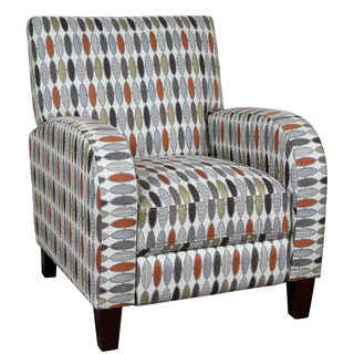 Porter Shaka Red Silver and Green Woven Geometric Pushback Accent Chair