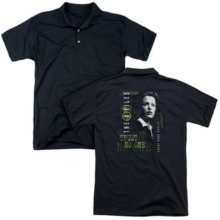X Files/Scully (Back Print) Mens Regular Fit Polo in Black