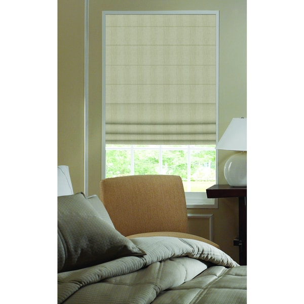 Ashton Stripe Taupe Stripe Polyester Plain Fold 41-inch to 41 1/2-inch Wide Roman Shades