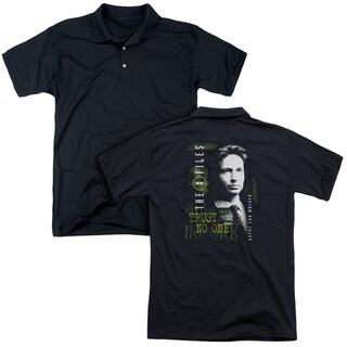 X Files/Mulder (Back Print) Mens Regular Fit Polo in Black