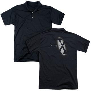 X Files/Spotlight Logo (Back Print) Mens Regular Fit Polo in Black
