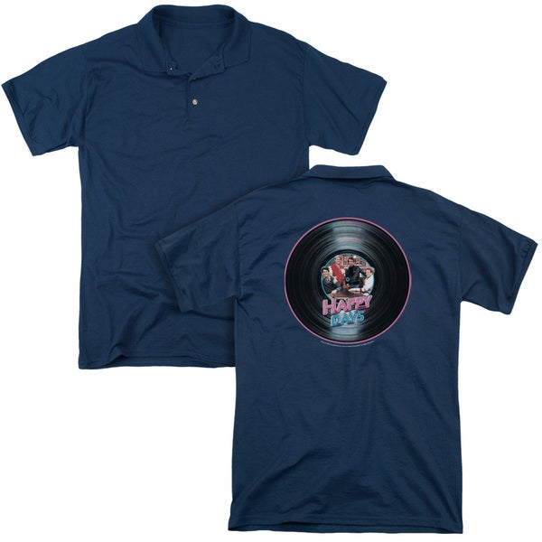 Happy Days/On The Record (Back Print) Mens Regular Fit Polo in Navy