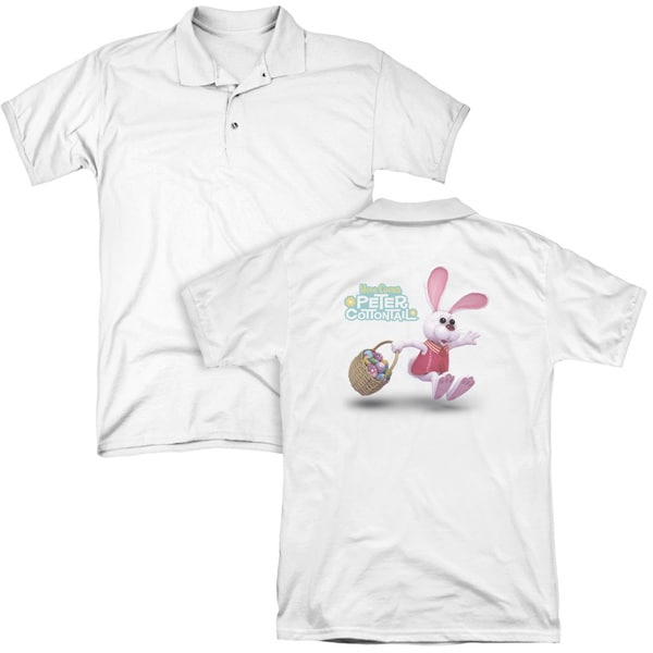 Here Comes Peter Cottontail/Hop Around (Back Print) Mens Regular Fit Polo in White