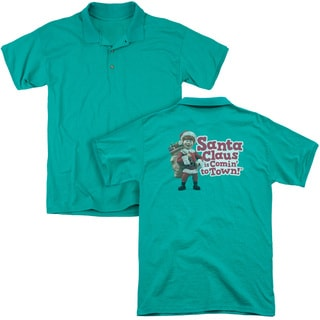 Santa Claus Is Comin To Town/Santa Logo (Back Print) Mens Regular Fit Polo in Kelly Green