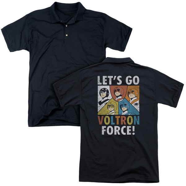 Voltron/Force (Back Print) Mens Regular Fit Polo in Black