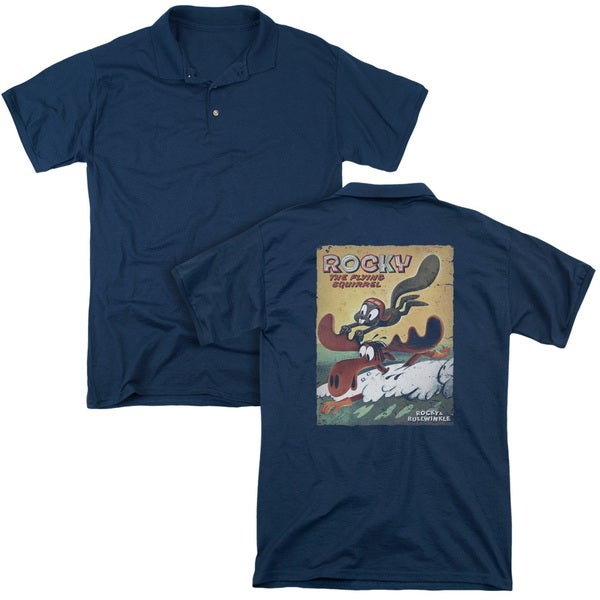 Rocky & Bullwinkle/Vintage Poster (Back Print) Mens Regular Fit Polo in Navy