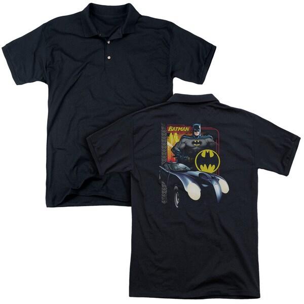 Batman/Bat Racing (Back Print) Mens Regular Fit Polo in Black