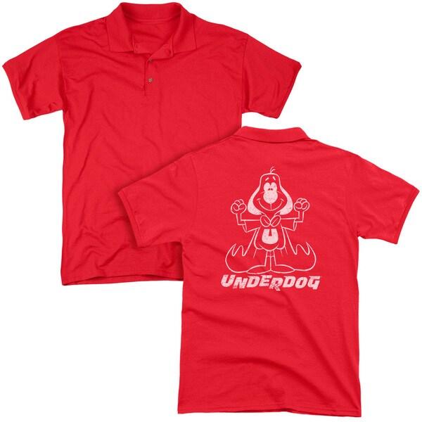 Underdog/Outline Under (Back Print) Mens Regular Fit Polo in Red