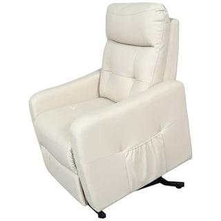 Porter Aurora Soft Cream Leather Alternative Power Recliner Lift Assist Chair