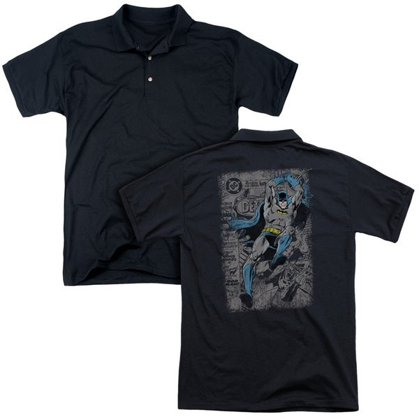 Batman/Detective #487 Distress (Back Print) Mens Regular Fit Polo in Black
