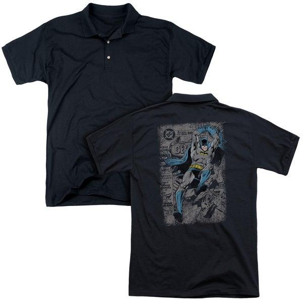 Batman/Detective #487 Distress (Back Print) Mens Regular Fit Polo in Black