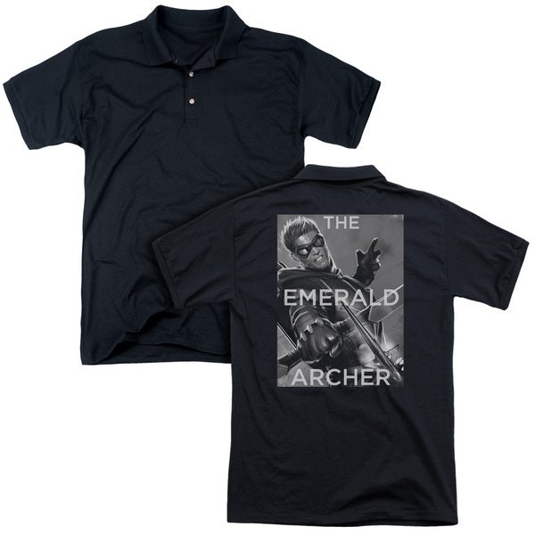 JLA/Trigger (Back Print) Mens Regular Fit Polo in Black