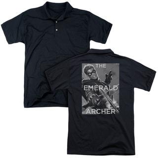 JLA/Trigger (Back Print) Mens Regular Fit Polo in Black