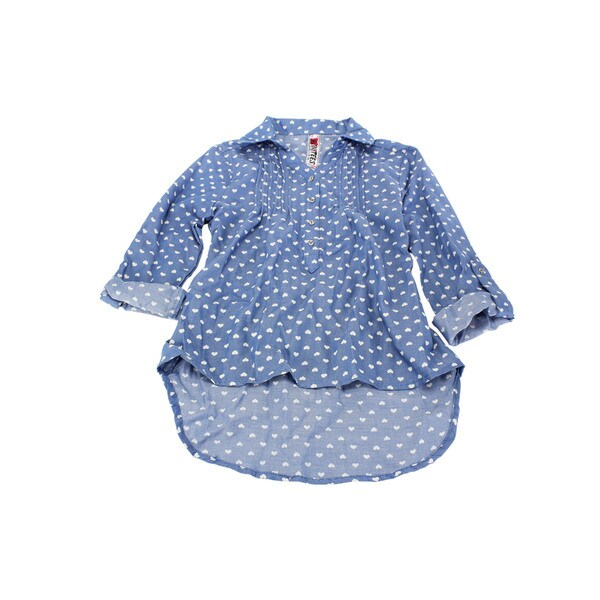 Beautees Girl's Blue Cotton, Polyester Long-sleeve Top