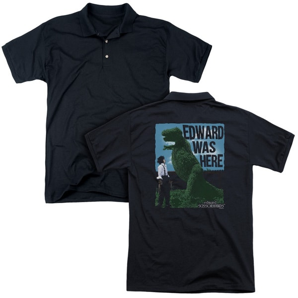 Edward Scissorhands/Edward Was Here (Back Print) Mens Regular Fit Polo in Black