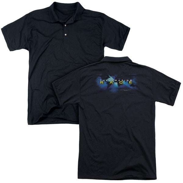 Amazing Race/Faded Globe (Back Print) Mens Regular Fit Polo in Black