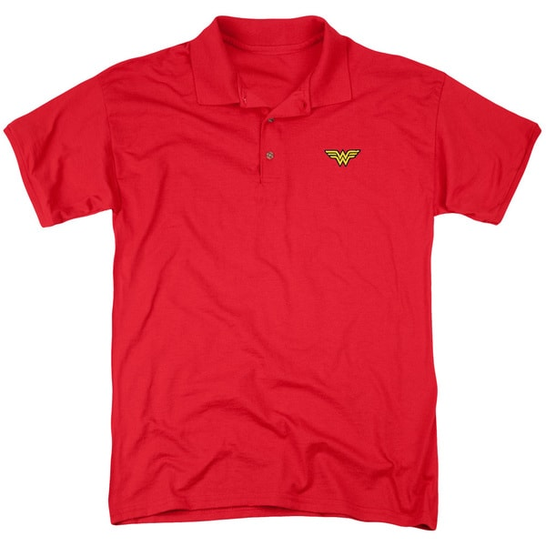 JLA/Embroidered Wonder Mens Regular Fit Polo in Red
