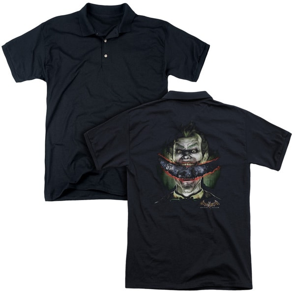 Batman Aa/Crazy Lips (Back Print) Mens Regular Fit Polo in Black