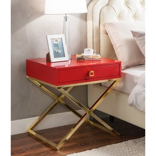 Iconic Home Bogart Lacquer Metal Cross Leg Side Table