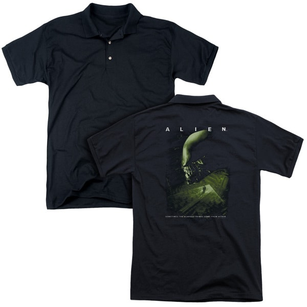 Alien/Lurk (Back Print) Mens Regular Fit Polo in Black