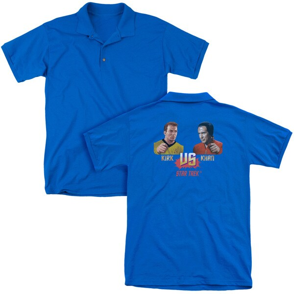 Star Trek/Kirk Vs Khan (Back Print) Mens Regular Fit Polo in Royal