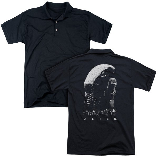 Alien/Evolution (Back Print) Mens Regular Fit Polo in Black