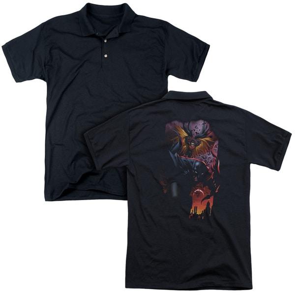 Batman/Batman & Robin #1 (Back Print) Mens Regular Fit Polo in Black