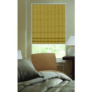 Nugget Brown Polyester 39-inch to 39.5-inch Ashton Stripe Plain Fold Roman Shades