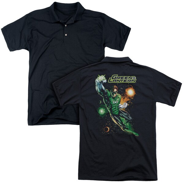 JLA/Galactic Guardian (Back Print) Mens Regular Fit Polo in Black