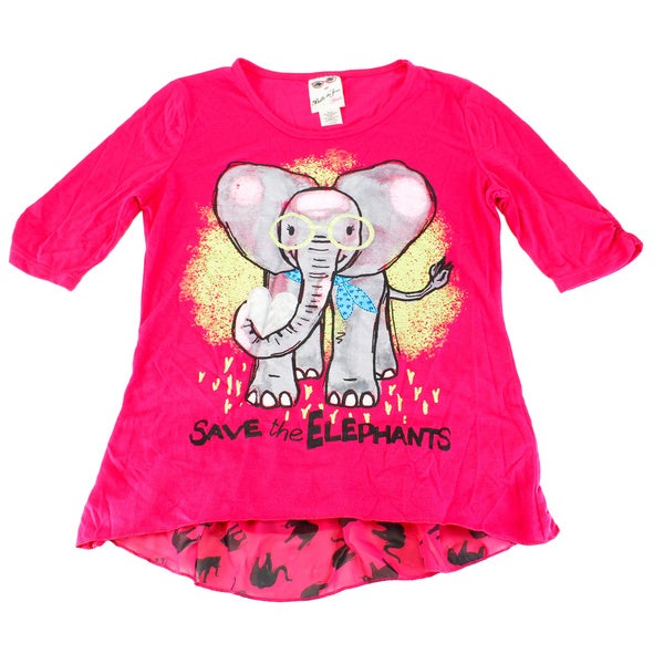 Belle Du Tour Girls' Pink Polyester Elephant-print Top