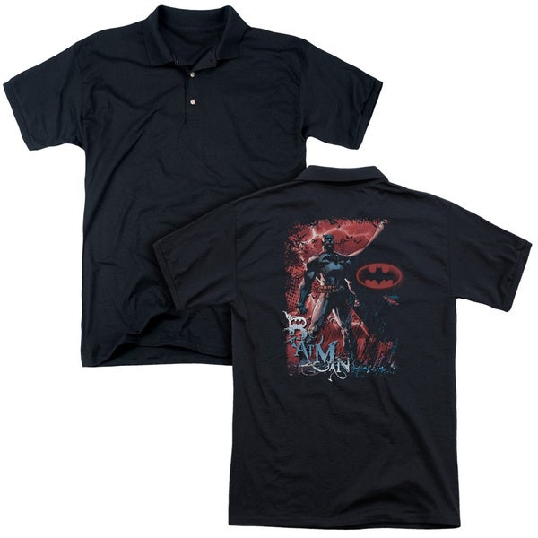 Batman/Gotham Reign (Back Print) Mens Regular Fit Polo in Black