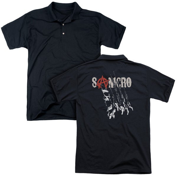 Sons Of Anarchy/Rip Through (Back Print) Mens Regular Fit Polo in Black