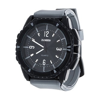Zunammy Jumbo Men's Matte Black Case and Grey Dial / Grey Rubber Strap Watch