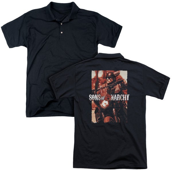 Sons Of Anarchy/Code Red (Back Print) Mens Regular Fit Polo in Black