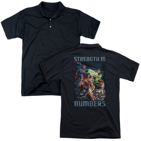 JLA/Strength in Number (Back Print) Mens Regular Fit Polo in Black