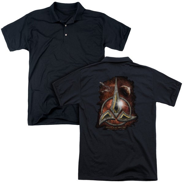 Star Trek/Klingon Crest (Back Print) Mens Regular Fit Polo in Black