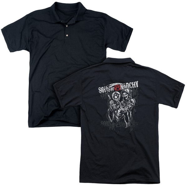 Sons Of Anarchy/Reaper Logo (Back Print) Mens Regular Fit Polo in Black
