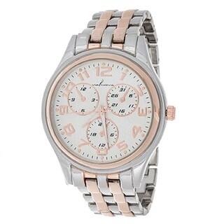 Via Nova Boyfriend Women's Rosetone Case with Silver & Rose Strap Watch